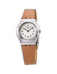 Swatch Womens Analogue Quartz Watch with Leather Strap YSS321