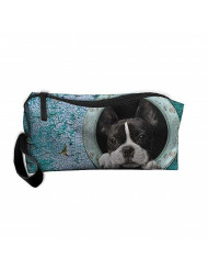 New Cute Boston Terrier Cosmetic Bag Pencil Case Travel&home Portable Graphic Hanging Toiletry Travel Bag