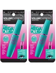 Maybelline New York Volum' Express The Mega Plush Washable Mascara Makeup, Blackest Black, 2 Count, Washable Blackest Black