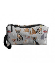 Travel Makeup Chihuahua Dog Glasses Cosmetic Pouch Makeup Travel Bag Purse Holiday Gift For Women Or Girls