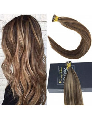 Sunny Brazilian I Tip Hair Extensions Human Hair,Brown Mixed Blonde Remy Straight Stick Tip Human Hair Extensions Real Human Hair-14Inches 50gram Per Pack
