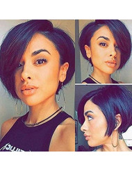 "Hexuan Short Bob Wigs Brazilian Hair 130 Density Pre Plucked Lace Front Human Hair Wigs For Black Women Brazilian Wig Remy Human Hair.(130% Density,8""nature color)"