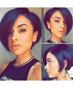 """Hexuan Short Bob Wigs Brazilian Hair 130 Density Pre Plucked Lace Front Human Hair Wigs For Black Women Brazilian Wig Remy Human Hair.(130% Density,8""""nature color)"""