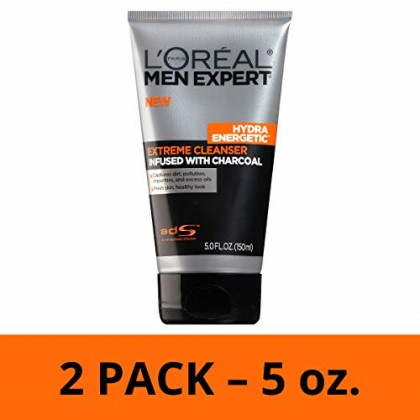 L'Oreal Paris Skincare Men Expert Hydra Energetic Facial Cleanser with Charcoal for Daily Face Washing, 2 count