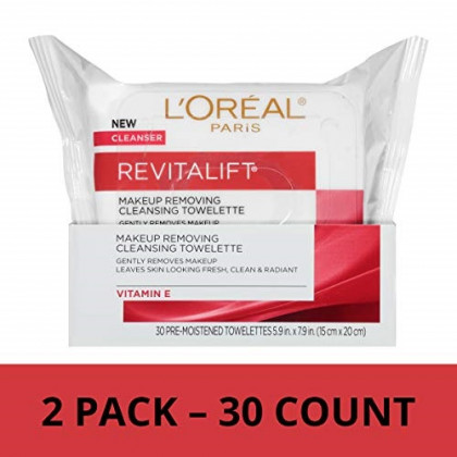 L'Oreal Paris Revitalift Radiant Smoothing Facial Cleansing Towelettes, 2 count
