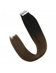 VeSunny Black to Brown Tape in Hair Extensions Ombre Remy Real Human Hair 18inch Tape in Hair Double Sided Hair Extensions 20pcs/50g
