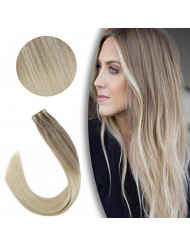 VeSunny Blonde Hair Extensions Tape in Remy Human Hair 16inch 20pcs #Nordic Blonde Ombre Balayage Tape in Extensions Human Hair 50G