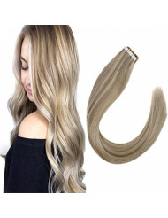 VeSunny Blonde Tape in Hair Extensions Human Hair 18inch #P16/22 Golden Blonde Highlighted with Medium Blonde Seamless Remy Tape in Extensions Silky Straight 20 Pcs 50G