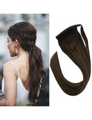 Sunny 20inch Balayage Ponytail Extension Brown Highlight Brazilian Human Hair Clip in Ponytail Extension 100 Real Human Hair 80g