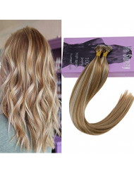 VeSunny 16inch Nano Tip Hair Extensions Color Caramel Blonde Mixed Bleach Blonde Nano Tip Extensions Cold Fusion Hair Extensions Real Human Hair 50G Per Package