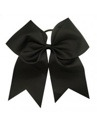 Kenz Laurenz Cheer Bows Black Cheerleading Softball - Gifts for Girls and Women Team Bow with Ponytail Holder Complete Your Cheerleader Outfit Uniform Strong Hair Ties Bands Elastics (14)