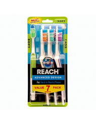 REACH Advanced Design Adult Toothbrush, Soft, 7 Count