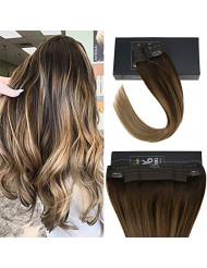 Sunny 12inch Remy Ombre Halo Human Hair Extensions Balayage Dark Brown Fading to Golden Brown Mixed with Blonde Wire Hair Extensions Human Hair Double Weft 80g