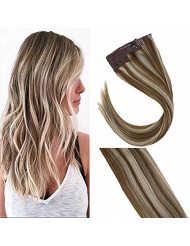 Sunny 20inch Piano Color Medium Brown with Blonde Hair Halo Extensions Real Hair 100g No Glue One Piece Wire Human Hair Extensions
