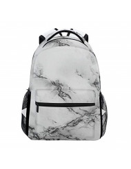 ZZKKO Black and White Marble Art Boys Girls School Computer Backpacks Book Bag Travel Hiking Camping Daypack