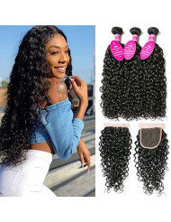 Younsolo Water Wave 3 Bundles with Closure (18 20 22+16) Unprocessed Wet and Wavy Brazilian Virgin Human Hair Soft Water Wave Curly Hair Bundles with Closure 4x4 Free Part with Baby Hair Natural Color