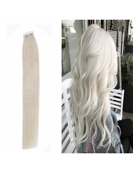 Youngsee Blonde Tape in Hair Extensions Real Human Hair #60 Platinum Blonde Double Side Tape Hair Extensions Human Hair Glue in Hair Extensions 18inch 20pcs/50g