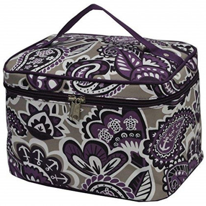 Purple Paisley NGIL Large Top Handle Cosmetic Case
