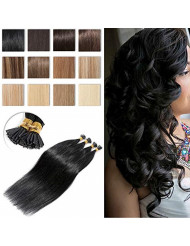 S-noilite Pre Bonded I Tip Remy Human Hair Extensions 100 Strands Full Head Cold Fusion Extensions 0.5g/s 50grams/Package Soft Straight Keratin Stick in Hair Extensions #1 Jet Black