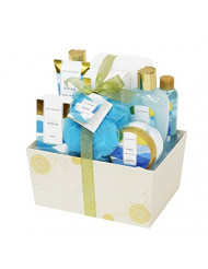 Spa Luxetique Bath Spa Gift Baskets for Women, Premium10pc Gift Baskets for Women, Ocean Fragrance Spa Gift Sets Includes Shower Gel, Body Butter, Hand Soap, Decorative Box with Ribbon.