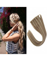 Sunny 16inch Clip in Human Hair Ponytail Extension Highlights Ash Blonde Highlight with Bleach Blonde Ponytail Hair Extensions Highlighted Clip in Hair 80G