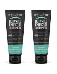 My Magic Mud Charcoal Teeth Whitening Toothpaste, Verified Enamel Safe & Clinically Proven, Organic Coconut Oil, Essential Oils, Best Natural Whitener, Fluoride-Free, Vegan, Spearmint 2-pack (4oz)