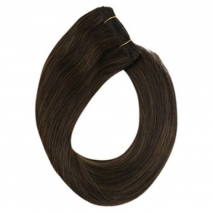 YoungSee 24inch Sew in Weft Extensions Human Hair Highlighted Darkest Brown with Light Brown Dip Dyed Wefts Human Hair Weave Bundles Highlight Hair Wefts 100G