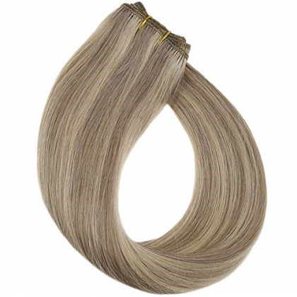 YoungSee 20inch Weft Extensions Hand Tied Human Hair Dark Ash Blonde Mixed Golden Blonde Dip Dyed Sew in Weft Straight Human Hair Bundles 100G