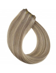 YoungSee 14inch Bundles Human Hair Weft Dark Ash Blonde Mixed Golden Blonde Highlight Hand Tied Sew in Hair Extensions Human Hair Weaves 100G