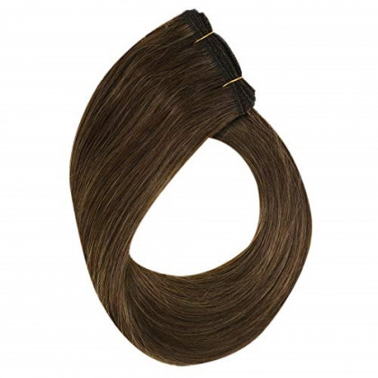 YoungSee 14inch 1 Bundle Sew in Human Hair Dark Brown Highlight with Light Brown Dip Dyed Wefts Extensions Human Hair Weave Double Weft 100G