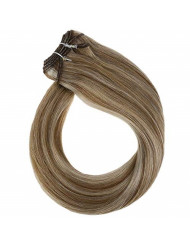 YoungSee Bundles Sew in Human Hair Dip Dyed Medium Brown Highlight with Blonde Double Wefted Hair Extensions Sew in Weft 100G 18Inch