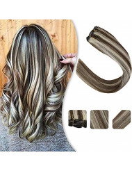 YoungSee Human Hair Sew in Bundles Color Dark Brown Highlight with Platinum Blonde Dip Dyed Weft Hair Extensions Straight Hair Piece 16inches 100g