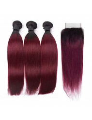 Ombre Brazilian Virgin Hair Straight Ombre Hair 3 Bundles with Closure 2 Tone T1B/99J Dark Roots Wine Red Human Hair Bundles Weave with Lace Closure Ombre Hair Extensions (14 16 18+12inch, Closure)