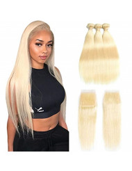 613 Bundles with Closure 613 Platinum Blonde Human Hair 3 Bundles with Transparent Color Lace Closure 4x4 Brazilian Straight 9A Remy Human Hair Extension Can Be Dyed (10 10 10 with 10, Closure)