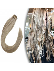 """VeSunny 22"""" Blonde Tape ins Hair Extensions Human Hair Color #16 Golden Brown Mixed #22 Light Blonde Full Head Tape in Hair Extensions 10pcs 25Gram"""