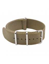 ArtStyle Watch Band with Thick Nylon Material Strap Polished Stainless Steel Buckle - Choice of Color & Width (20mm, Khaki)