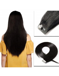 Tape in Hair Extensions Black 100% Remy Human Hair 14''-24'' Double Side Tape Seamless Skin Weft Natural Hair Extensions 20pcs Long Straight Silky Off Black (18 inch 50g,#1B Natural Black)