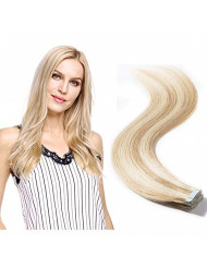 Tape in Hair Extensions Blonde 100% Remy Human Hair Double Side Tape Seamless Skin Weft Natural Hair Extensions 20pcs Long Straight(20 inch 50g,#18/613 Light Ash Brown mix Bleach Blonde)