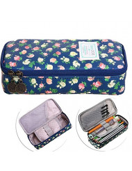 Bonaweite Cute Floral Pencil Case Bags, Office Stationer Pouch, Large Capacity Pen Holder, Multifunction Cosmetic Makeup Bag Organizer with Zipper for Girls Students ...