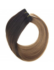 YoungSee 16inch Weft Weaves Human Hair Bundles Darkest Brown Fading to Brown with Caramel Blonde Balayage Full Head Sew in Weft Human Hair Extensions 100G