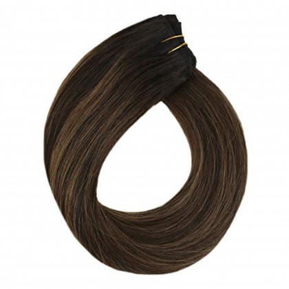 YoungSee 22inch Weft Extensions Hand Tied Human Hair Darkest Brown Mixed Medium Brown Balayage Human Hair Bundles Sew in Hair Weft 100G