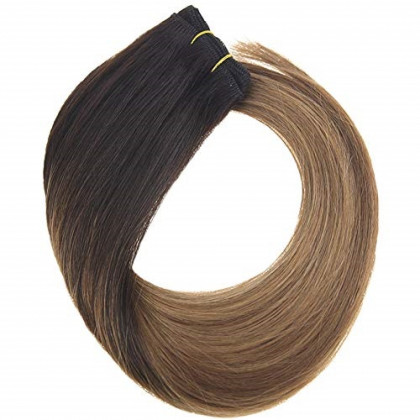 YoungSee 22inch Remy Human Hair Sew in Bundles Darkest Brown Fading to Medium Brown with Caramel Blonde Ombre Weft Hair Extensions Seamless Human Hair Weaves 100G