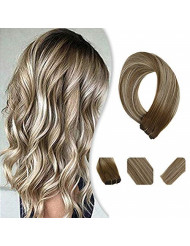 YoungSee Bundles Sew in Human Hair Color Brown Fading to Platinum Blonde Mix Brown Hand Tied Hair Extensions Double Wefts Ombre Hair Wefts 16Inch 100G