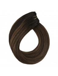 YoungSee 14inch Bundles Sew in Human Hair Darkest Brown Mixed Medium Brown Balayage Hand Tied Weft Extensions Human Hair Weaves 100G