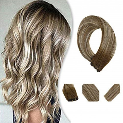 YoungSee Hair Extensions Sew in Human Hair Brown Fading to Platinum Blonde Mix Brown Ombre Weft Bundles Highlight Brazilian Human Hair Weft 24Inch 100G