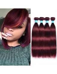 JulyQueen 8A Brazilian Hair Straight 4 Bundles Red 99J Human Hair Extension Pure Burgundy Color Straight Virgin Hair Weave Wefte(16 18 20 22)