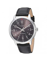Timex Men's TW2R85500 Classic 43mm Black/Silver-Tone Leather Strap Watch