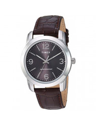 Timex Men's TW2R86700 Classic 39mm Black/Silver-Tone/Brown Leather Strap Watch
