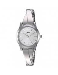 Timex Women's TW2R98700 Stretch Bangle Crisscross 25mm Silver-Tone Expansion Band Watch