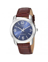 Timex Men's TW2R86800 Classic 39mm Brown/Silver-Tone/Blue Croco Pattern Leather Strap Watch
